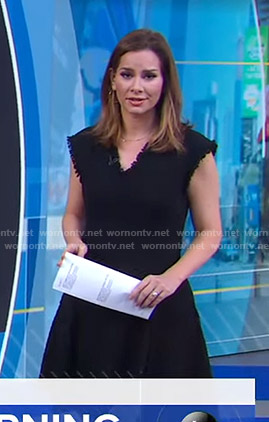 Rebecca Jarvis's black v-neck tweed dress on Good Morning America