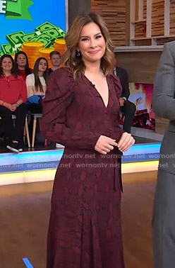 Rebecca Jarvis's red snake print dress on Good Morning America