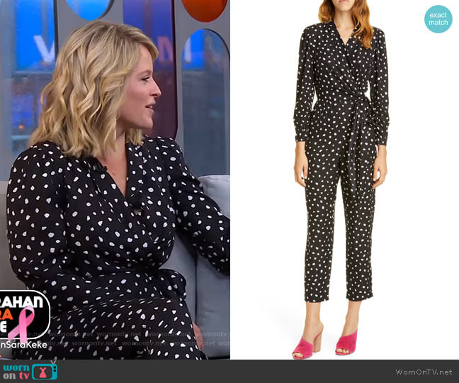 Dot Wrap Jumpsuit by Rebecca Taylor worn by Sara Haines  on Good Morning America