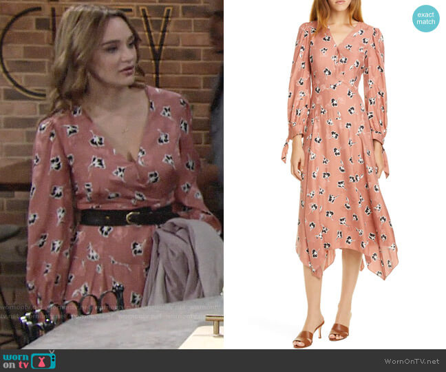 Rebecca Taylor Paintbrush Floral Dress worn by Summer Newman (Hunter King) on The Young & the Restless