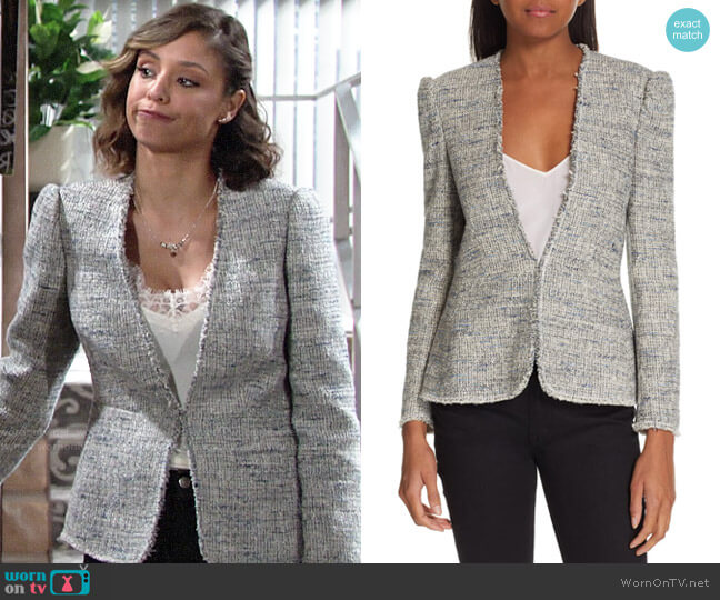 Rebecca Taylor Tweed Peplum Jacket worn by Elena Dawson (Brytni Sarpy) on The Young & the Restless