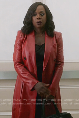 Annalise's red leather double breasted coat on How to Get Away with Murder