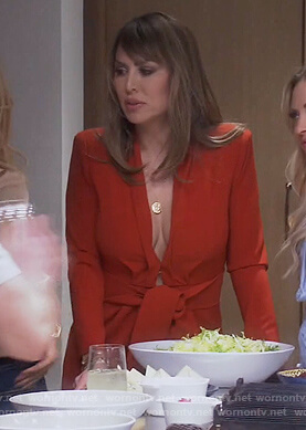 Kelly's red tie waist jumpsuit on The Real Housewives of Orange County
