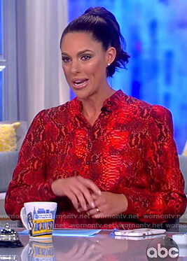 Abby's red snake skin print dress on The View