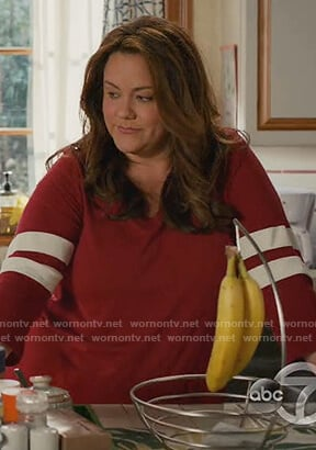 Katie's red stripe sleeve tee on American Housewife