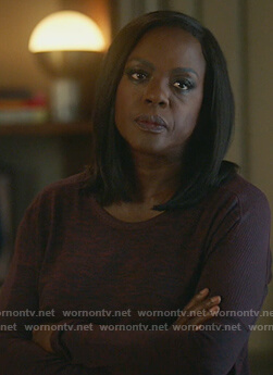 Annalise's red space-dye top on How to Get Away with Murder