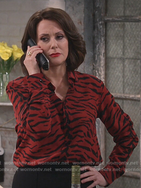Karen's red tiger stripe blouse on Will and Grace
