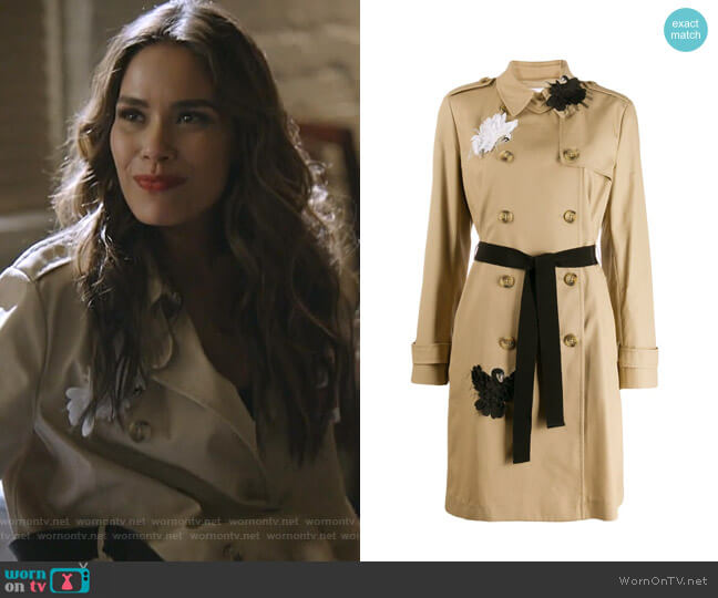 Swan Appliqué Trench Coat by RED Valentino worn by Cristal Jennings (Daniella Alonso) on Dynasty