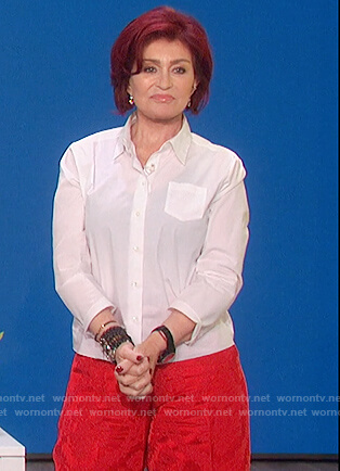 Sharon's red jacquard wide leg pants on The Talk