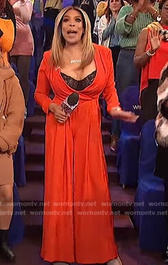 Wendy's red pleated jumpsuit on The Wendy Williams Show