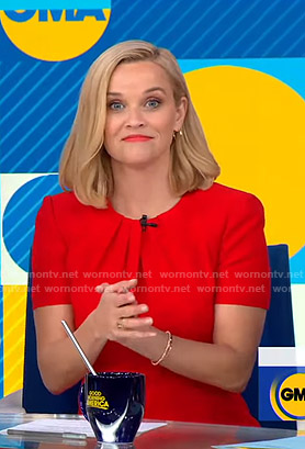 Reese Witherspoon's red pleated neck dress on Good Morning America