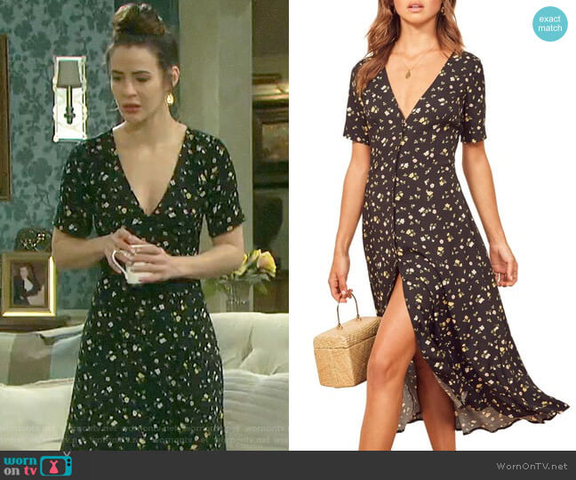 Reformation Locklin Dress in Venezia worn by Sarah Horton (Linsey Godfrey) on Days of our Lives