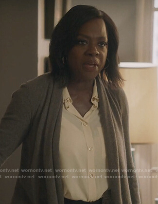Annalise's ring embellished blouse on How to Get Away with Murder