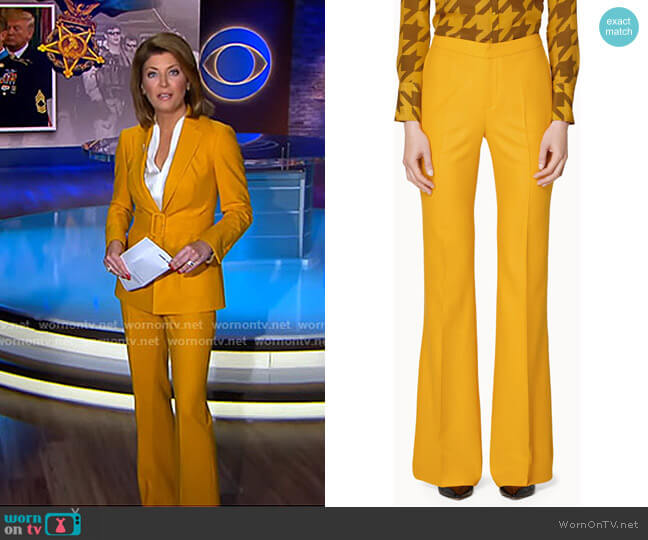 Robin Flared Trousers by Suistudio worn by Norah O'Donnell  on CBS Evening News