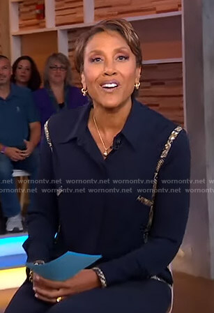Robin's navy snakeskin trim shirt on Good Morning America