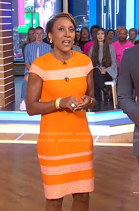 Robin's orange striped sheath dress on Good Morning America