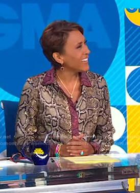 Robin's snake print blouse on Good Morning America