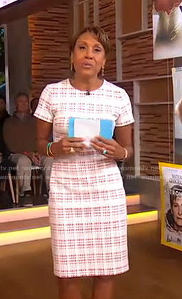 Robin's white plaid sheath dress on Good Morning America