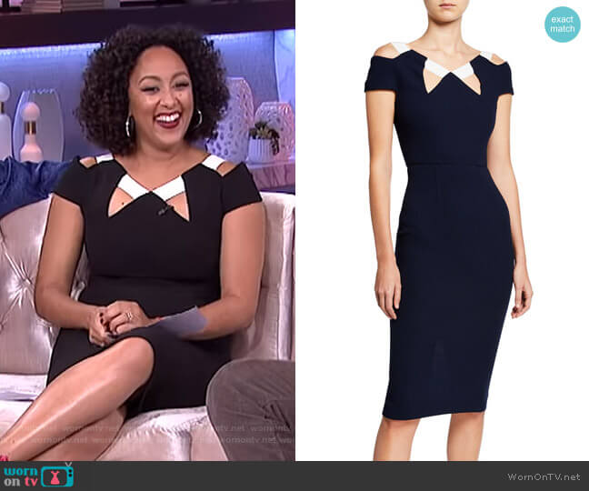 Atkinson Cold-Shoulder Dress by Roland Mouret worn by Tamera Mowry  on The Real