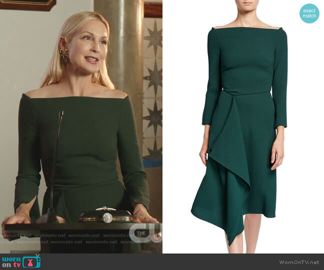 Clover Off-the-Shoulder Draped-Front Dress by Roland Mouret worn by Melissa Daniels (Kelly Rutherford) on Dynasty
