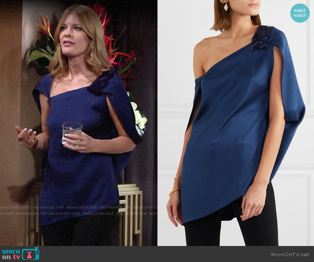 Roland Mouret Heartwall Top worn by Phyllis Summers (Michelle Stafford) on The Young & the Restless