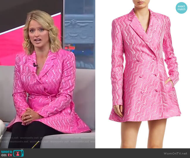 N.23 Double-Breasted Jacquard Blazer Dress by Rotate worn by Sara Haines  on Good Morning America