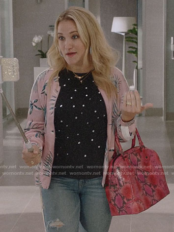 Roxy's pink palm leaf print bomber jacket on Almost Family