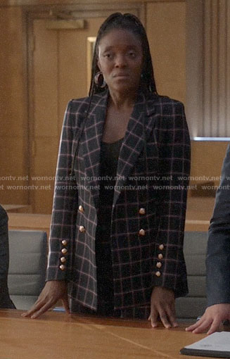 Sadie's checked blazer on Bull