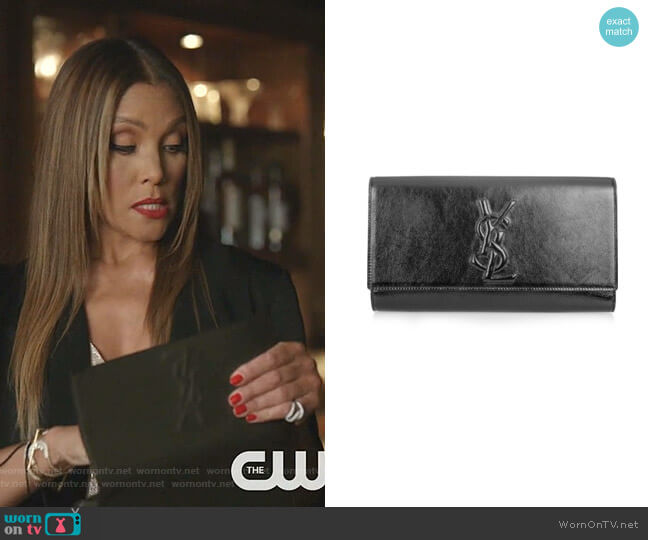 Belle De Jour Clutch by Yves Saint Laurent worn by Dominique Deveraux (Michael Michele) on Dynasty
