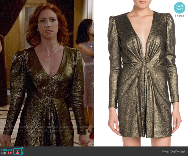 Saint Laurent Deep-V Long-Sleeve Gathered Metallic Silk Dress worn by Julia Bechley (Brittany Snow) on Almost Family