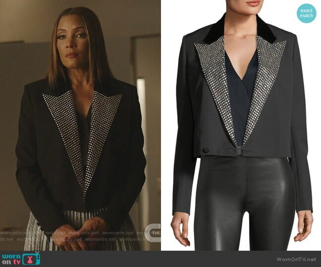 Iconic Le Smoking Spencer Fitted Jacket with Embellished Lapel by Saint Laurent worn by Dominique Deveraux (Michael Michele) on Dynasty