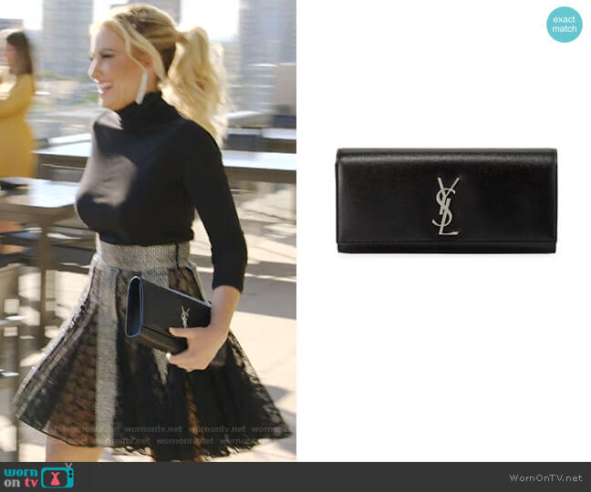 Kate Monogram YSL Clutch Bag by Saint Laurent worn by Stephanie Hollman  on The Real Housewives of Dallas