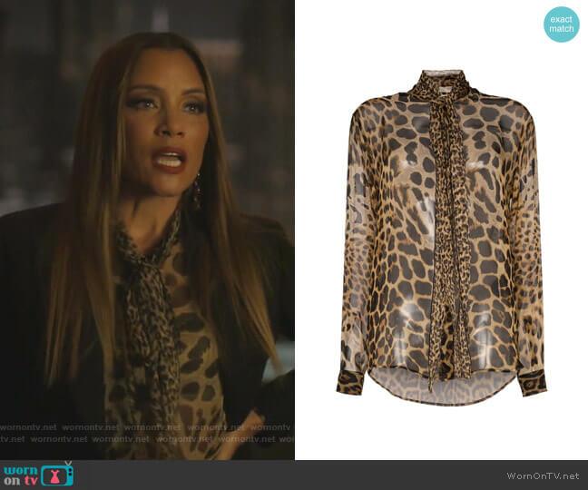Tie-Neck Leopard-Print Blouse by Saint Laurent worn by Dominique Deveraux (Michael Michele) on Dynasty