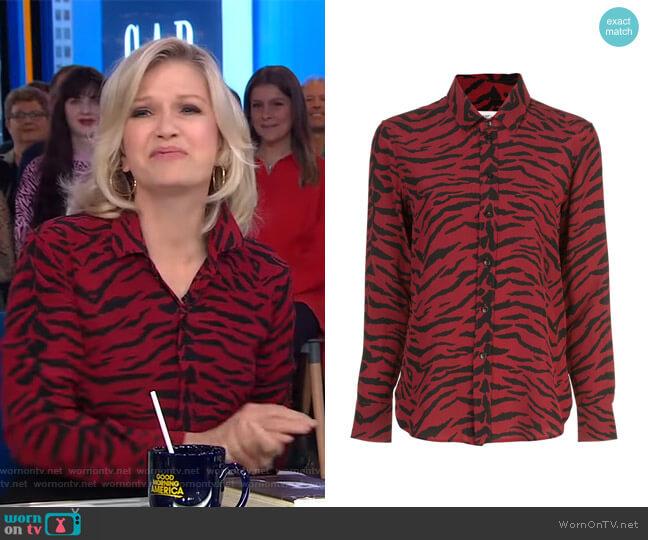 Zebra-Print Long-Sleeve Blouse by Saint Laurent worn by Diane Sawyer on GMA