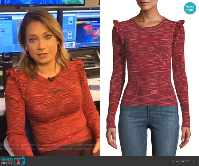 Salma Ruffle-Trim Top by Cinq A Sept worn by Ginger Zee  on Good Morning America