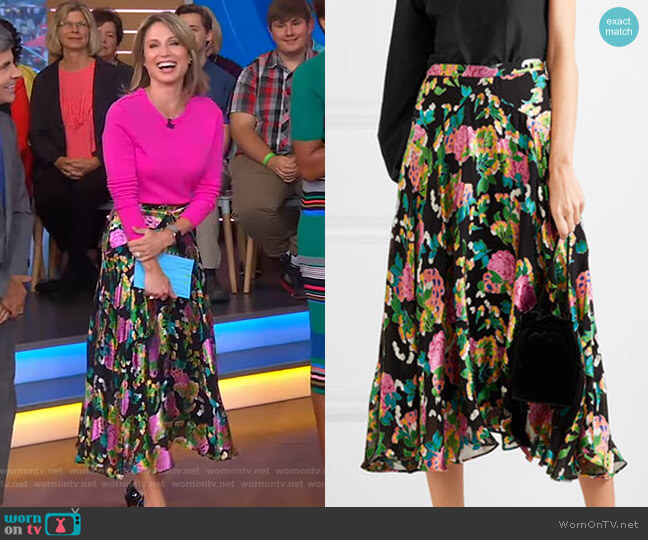 Ida Floral-Print Skirt by Saloni worn by Amy Robach  on Good Morning America