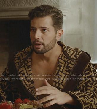 Sam's Fendi logo print robe on Dynasty