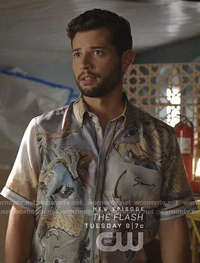 Sam's blue dragon print shirt on Dynasty