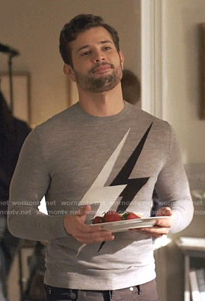 Sam's grey lightning bolt sweater on Dynasty