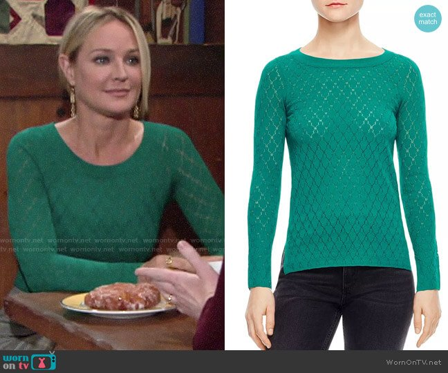Sandro Anabelle Pointelle Sweater worn by Sharon Collins (Sharon Case) on The Young & the Restless