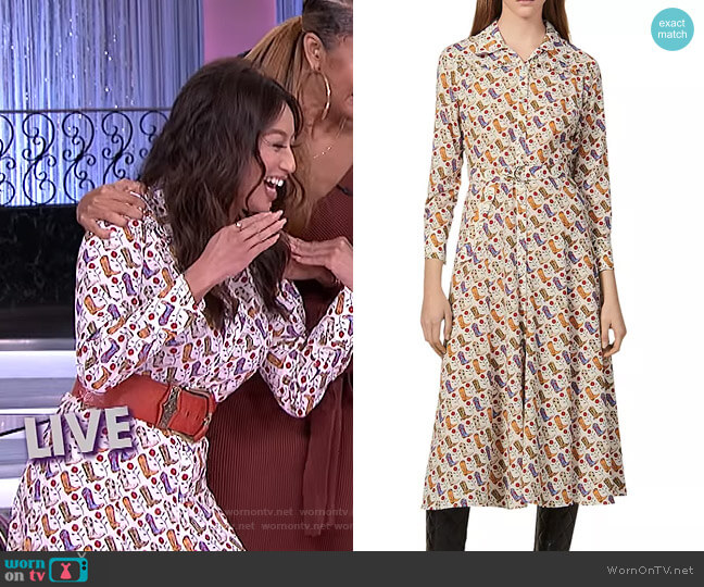Bootseen Midi Shirt Dress by Sandro worn by Jeannie Mai  on The Real