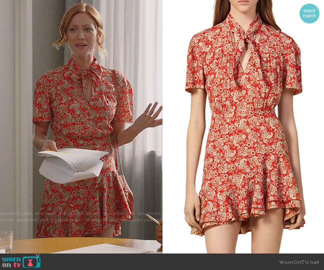 Sandro Lane Paisley Mini Dress worn by Julia Bechley (Brittany Snow) on Almost Family