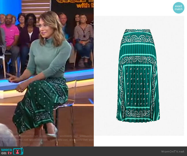 Pleated Printed Satin-Twill Midi Skirt by Sandro worn by Ginger Zee  on Good Morning America