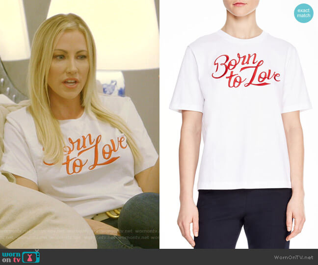 Adele Born to Love Tee by Sandro worn by Stephanie Hollman  on The Real Housewives of Dallas