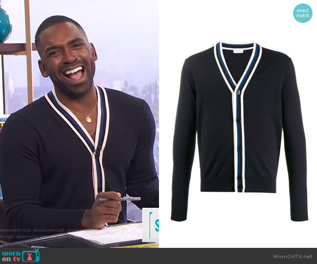 Contrast Long-Sleeve Cardigan by Sandro worn by Justin Sylvester  on E! News