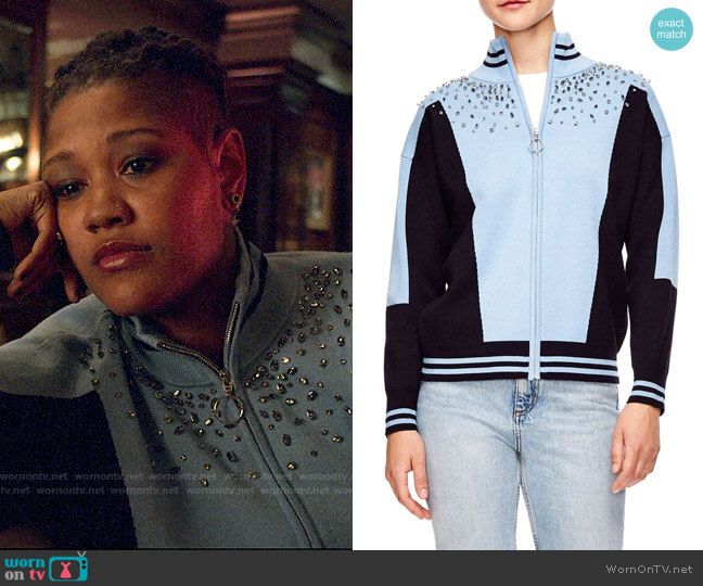 Sandro Embellished Sweater Jacket worn by Skye (Rahne Jones) on The Politician