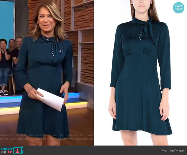 Tie-Neck Dress by Sandro worn by Ginger Zee  on Good Morning America