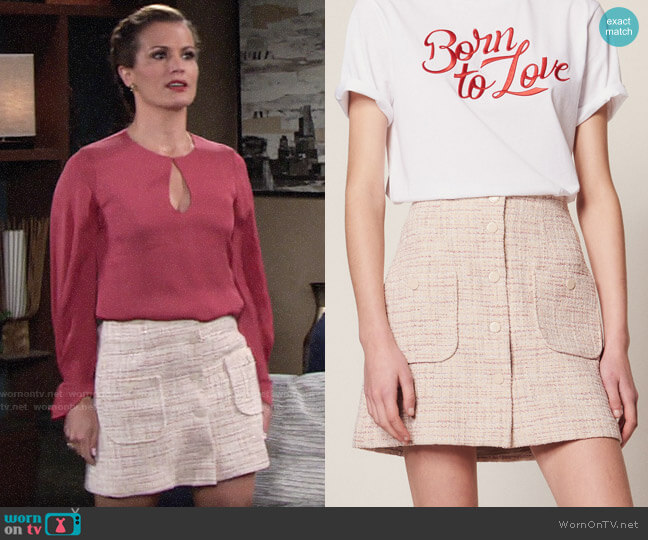 Sandro Short Tweed Skirt worn by Chelsea Lawson (Melissa Claire Egan) on The Young & the Restless