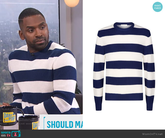 Stripe Crew Neck Sweater by Sandro worn by Justin Sylvester  on E! News