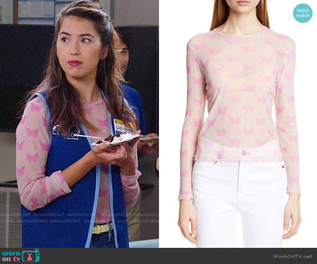 Sandy Liang Peel Butterfly Print Sheer Top worn by Cheyenne (Nichole Bloom) on Superstore